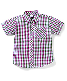 Babyhug Half Sleeves Check Shirt - Green Purple