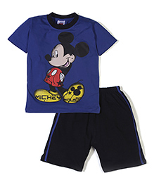 Mickey Mouse And Friends Printed T-Shirt & Shorts - Blue Black