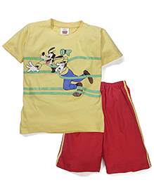 Mickey Mouse And Friends Printed T-Shirt & Shorts - Yellow Red