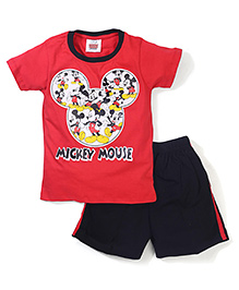 Mickey Mouse And Friends Printed T-Shirt & Shorts - Red Black
