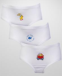 Babyhug Pack of 3 Briefs Multi Print - White
