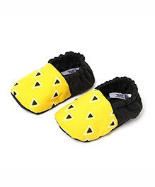 Jute Baby Slip-On Cotton Booties - Black Yellow