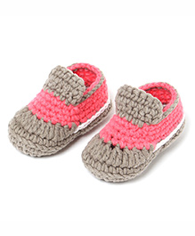 Jute Baby Slip-On Crochet Booties - Pink Light Brown