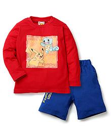 Babyhug Pokemon T-Shirt And Shorts Set - Red Blue