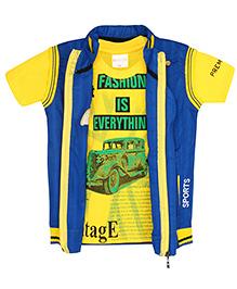 TONYBOY Vintage Car Print T-Shirt & Jacket Set - Blue & Yellow