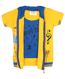 TONYBOY Guitar Print Jacket Styled T-Shirt - Yellow & Blue