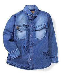 Little Kangaroos Denim Shirt Deer Print - Blue
