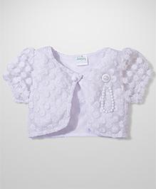 Babyhug All Over Designed Shrug - White