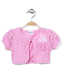 Babyhug All Over Designed Shrug - Pink