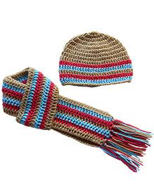 Dollops of Sunshine Stripes Hat & Scarf Set - Brown
