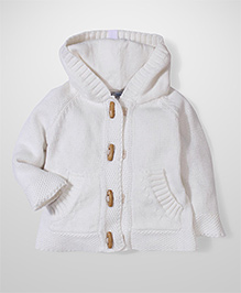 Beba bean Full Sleeves Hooded Sweater - White