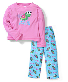 Cutie Patootie Full Sleeves Top And Pajama Turtle Print - Pink And Blue