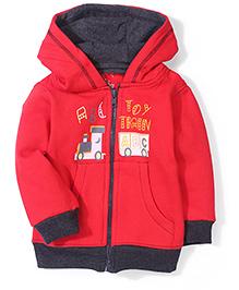 Babyhug Hooded Fleece Jacket Toy Train Print - Red