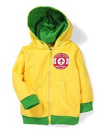 Babyhug Hooded Fleece Jacket Logo Patch - Yellow