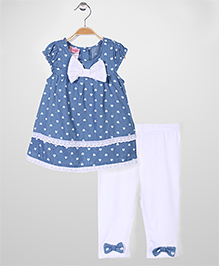 Nannette Baby Top & Leggings Set - Blue & White