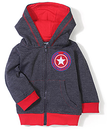 Babyhug Hooded Fleece Jacket Star Patch - Grey