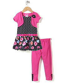 Young Hearts Flower Print Set - Pink & Black