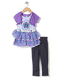 Young Hearts Flowery Embroidered Dress & Leggings Set - Purple