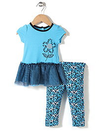Young Hearts Flower Print Set - Blue
