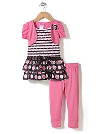 Young Hearts Dot Print Set - Pink