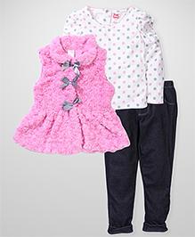 Young Hearts Dot Print Set - Pink & Black