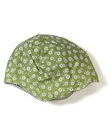 Funkie Baby Floral Print Reversible Hat - Green