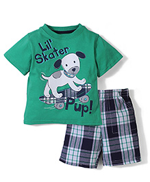 Half Sleeves T-Shirt And Shorts Lil Skater Print - Green