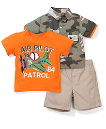 3 Piece Clothing Set - Orange And Green