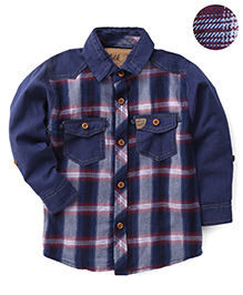 Little Kangaroos Checked Two Pockets Shirt - Navy