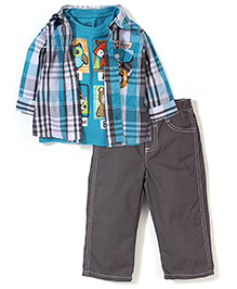 Little Rebels T-shirt, Jacket & Pant Set - Blue & Grey