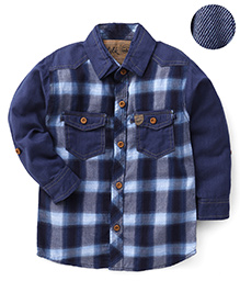 Little Kangaroos Checked Two Pockets Shirt - Blue