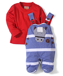 Little Kangaroos Footed Romper With T-Shirt - Red Blue