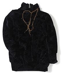 Little Kangaroos High Neck Butterfly Design Top - Black