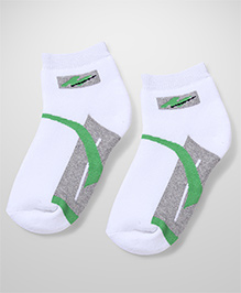 Mustang Ankle Length Socks - White Grey Green