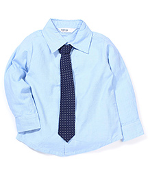 Beebay Full Sleeves Party Wear Plain Shirt With Tie - Blue