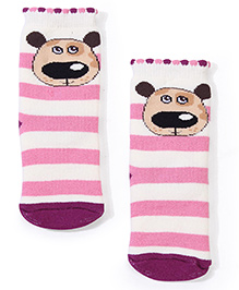 Mustang Ankle Length Striped Socks - Pink