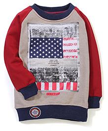 Little Kangaroos Raglan Sleeves Sweat T-Shirt - Maroon & Navy