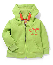 Little Kangaroos Plain Full Sleeves Hooded Sweat - Green