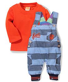 Little Kangaroos Dungaree Style Romper With T-Shirt - Blue Orange