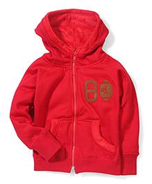 Little Kangaroos Plain Full Sleeves Hooded Sweat - Red