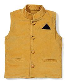 Little Kangaroos Party Wear Sleeveless Jacket - Yellow