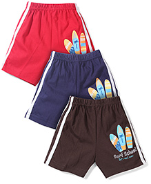 Zero Printed Track Shorts Set Of 3 - Brown Red Blue