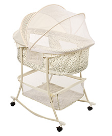 1st Step Bassinet Cum Rocker With Mosquito Net Off White - ST-2121