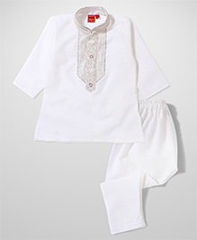 Ethnik's Neu Ron Full Sleeves Kurta And Pajama - White