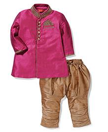Ethnik's Neu Ron Full Sleeves Kurta And  Jodhpuri Breeches - Pink