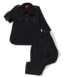 Ethnik's Neu Ron Kurta And Pajama Set - Black