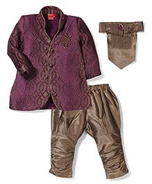 Ethnik's Neu Ron Kurta And Jodhpuri Breeches With Neck Tie Self Design - Purple