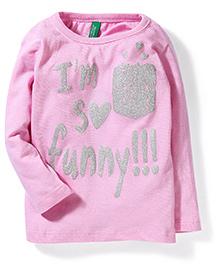 UCB Full Sleeves Top Glitter Print - Light Pink