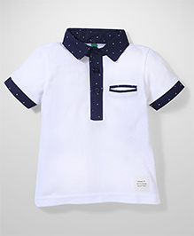 UCB Half Sleeves Polo T-Shirt - White And Navy