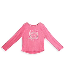 Barbie Long Sleeves Top Glitter Graphic Print - Pink